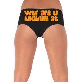 Women's Sexy Hot Booty Boy Shorts WTF Are You Looking At? Gothic Orange Bold Style Type Lingerie