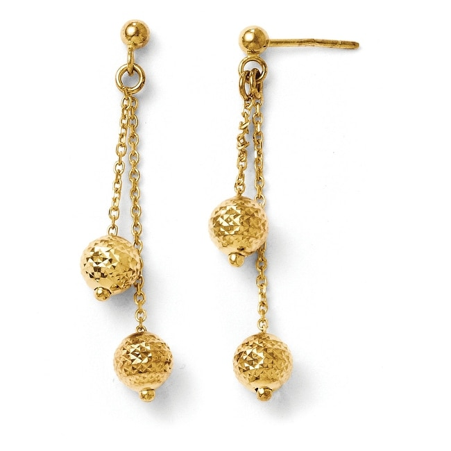 Italian 14k Gold Diamond Cut Post Dangle Earrings