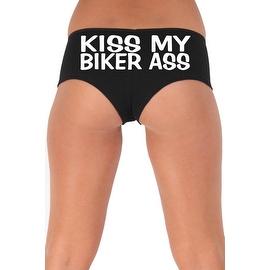 Women's Sexy Hot Booty Boy Shorts Kiss My Biker Ass Block White Bold Style Type Lingerie