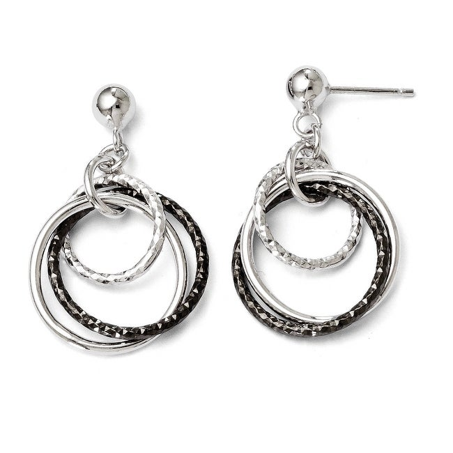 Italian Sterling Silver Ruthenium-plated Post Dangle Earrings