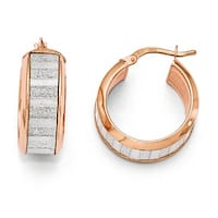 Italian Sterling Silver Rose Tone Plated Glimmer Infused Hoop Earrings