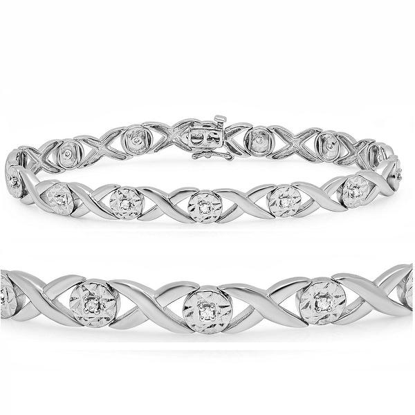 Amanda Rose Sterling Silver Hugs n Kisses Diamond Tennis Bracelet 1/4ct TDW