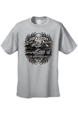 MEN'S BIKER T-SHIRT 'LET'S ROLL The Great American Pastime' USA S-XL 2X 3X 4X 5X