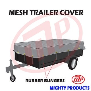 """Xtarps utility trailer mesh cover with 10 pcs of 9"""" rubber bungee 10x10 (MT-TT-1010)"""