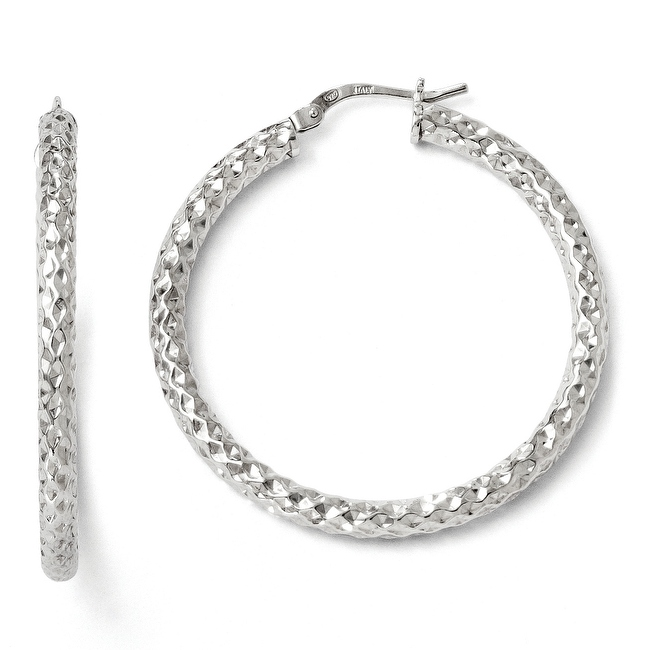 Italian Sterling Silver Polished & Textured Hinged Hoop Earrings