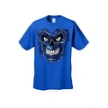 Men's T-Shirt Metallic Robotic Blue Skull Skeleton Wired Terminator Graphic Tee - Thumbnail 6