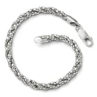 Italian Sterling Silver Polished Mesh Bracelet - 7.5 inches