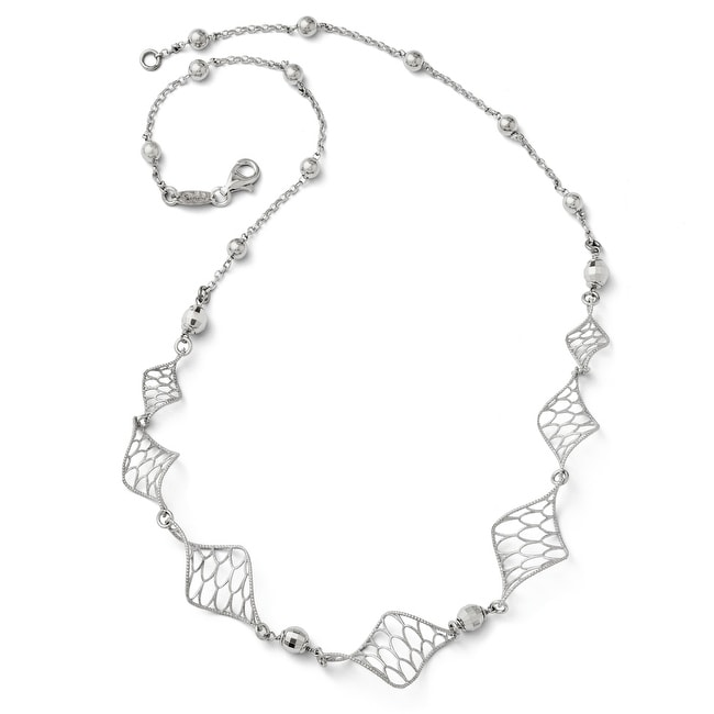 Italian Sterling Silver Twist Necklace - 18 inches