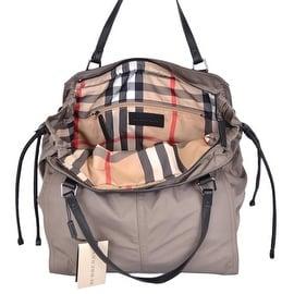 NEW Burberry Birch Beige Nylon Nova Check Packable Purse Bag Tote Shopper