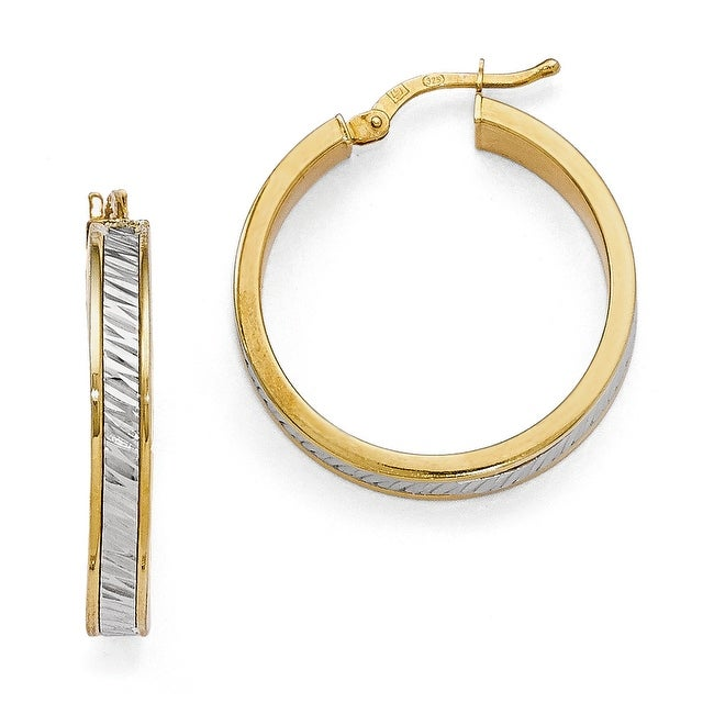 Italian Sterling Silver Gold-plated Polished & Diamond Cut Hoop Earrings