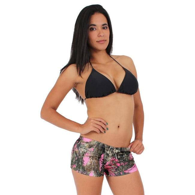Women's Juniors Camo Hot Shorts Authentic True Timber PINK