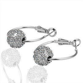 18K White Gold Hoop Earrings with Suave Swarovski Crystal