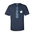 MEN'S BLACK TUXEDO T-SHIRT BLUE TIE COLLAR FRONT POCKET PENS S-XL 2X 3X 4X 5X - Thumbnail 2
