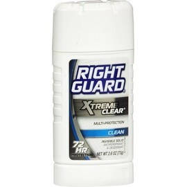 Right Guard Xtreme Clear Antiperspirant & Deodorant Invisible Solid, Clean 2.6 oz