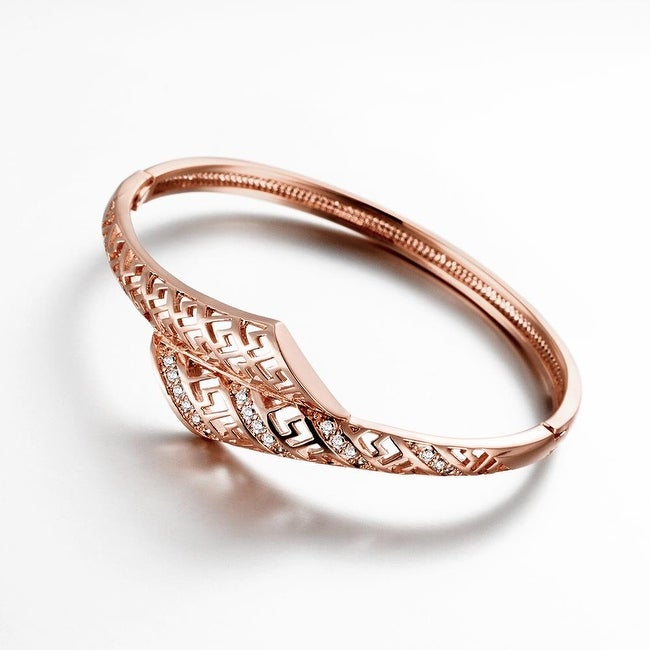 Vienna Jewelry Rose Gold Plated Laser Cut Interconnected Love Bangle