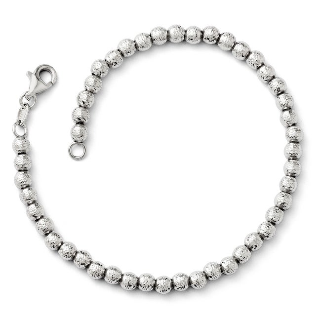 Italian 14k White Gold Diamond Cut Beaded Bracelet - 7.25 inches