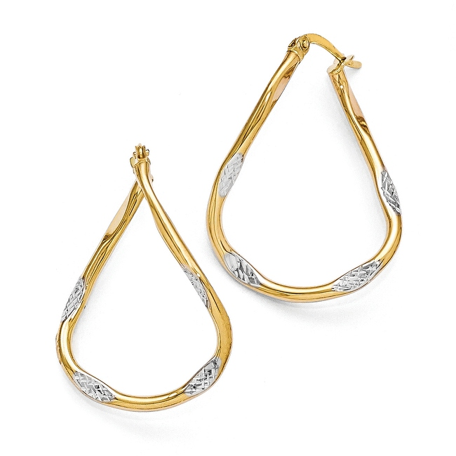 14k Gold with White Rhodium-plated Polished & Diamond-cut Hoop Earrings