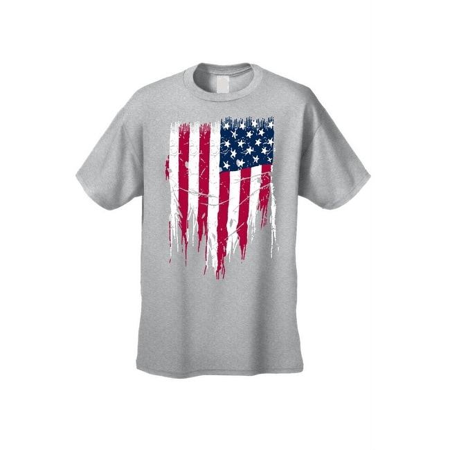 aa239255d3b81d MEN'S PATRIOTIC T-SHIRT Painted USA AMERICAN FLAG RED WHITE BLUE