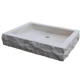 Chiseled Rectangular Natural Stone Vessel Sink - Beige Marble
