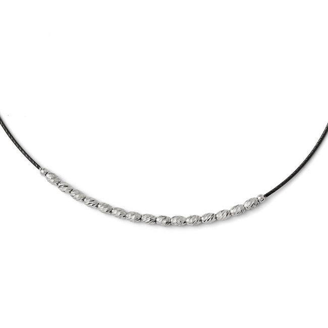 Italian Sterling Silver Diamond Cut Beaded with 2.5in ext. Necklace - 17 inches