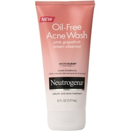 Neutrogena Oil-Free Acne Wash Cream Cleanser, Pink Grapefruit 6 oz