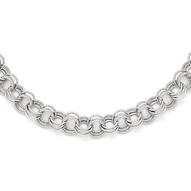 Italian 14k White Gold Polished Textured Fancy Link Necklace - 18 inches