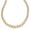 Italian 14k Two-Tone Gold Polished, Brushed & Textured Link Necklace - 16.75 inches - Thumbnail 0