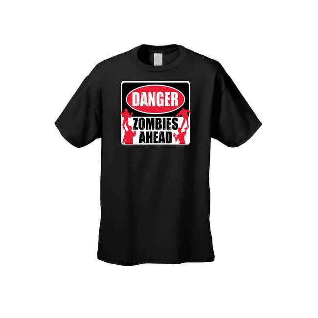 Men's T-Shirt DANGER! Zombies Ahead Undead Walkers Dixon Brains Graphic Tee