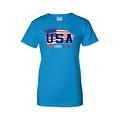Women's USA Flag Juniors T-Shirt Red WHITE & Blue Stars & Stripes Pride Tee - Thumbnail 4
