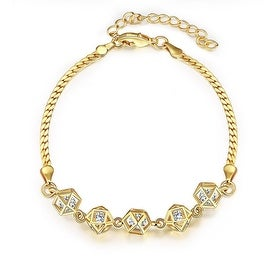 Vienna Jewelry Gold Plated Full Line Rubix Cubed Bracelet
