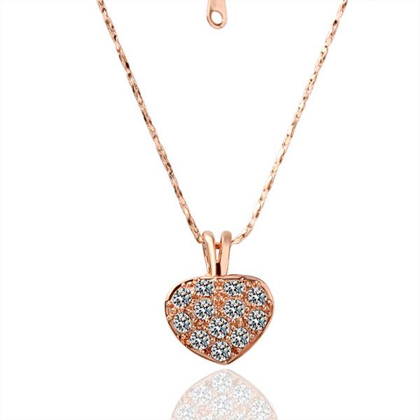 Petite Sized Heart Shaped Crystal Covering Bridal Necklace