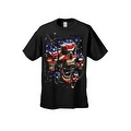 Men's T-Shirt USA Flag Skulls In Chains Stars & Stripes Pride American Graphic Tee - Thumbnail 9