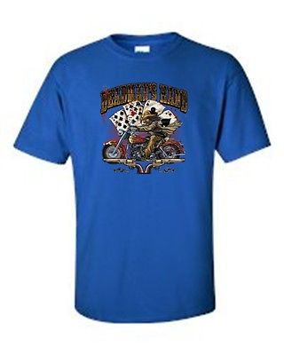 MEN'S BIKER T-SHIRT Deadman's Hand WILD BILL ACE-EIGHT PISTOLS S-XL 2X 3X 4X 5X
