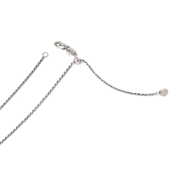 Italian 14k White Gold Adjustable Rope Chain - 22 inches