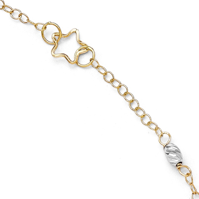 Italian 14k Two-Tone Gold Polished & Diamond Cut Anklet with 1in ext - 9 inches
