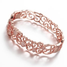 Vienna Jewelry Rose Gold Plated Hollow Laser Cut Classic Design Inspired Bangle