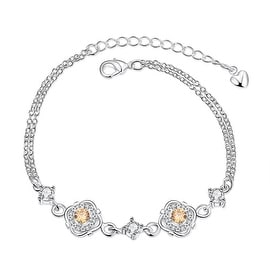 Vienna Jewelry Orange Citrine Jewels Covering Emblem Petite Anklet