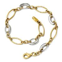 14k Two-Tone Gold Polished Fancy Link Bracelet - 7.25 inches