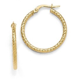 Italian 10k Gold Polished and Textured Hinged Hoop Earrings