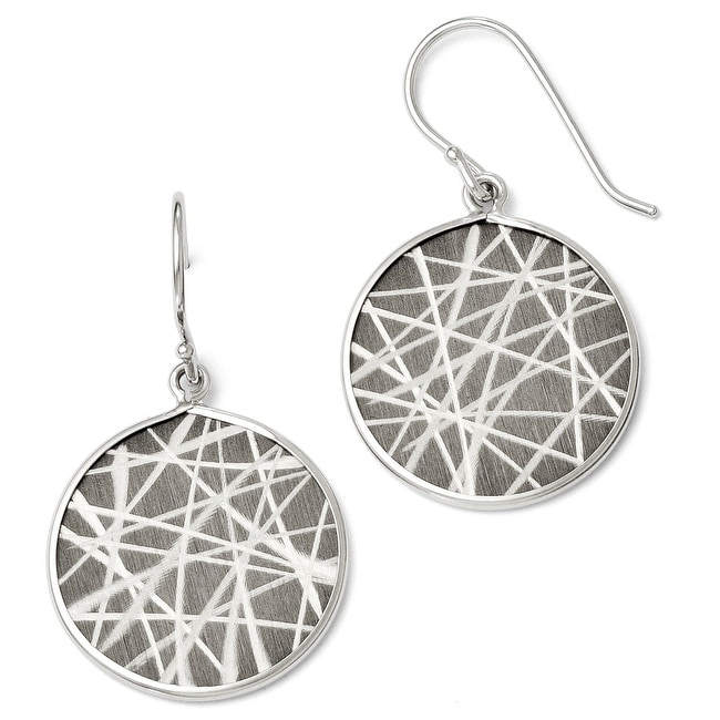 Italian Sterling Silver Ruthenium-plated Laser Design Shepherd Hook Earrings