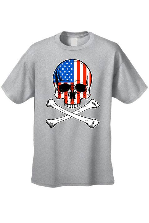 c031400fd Men's T-Shirt USA Flag Skull Crossed Bones American Pride Stars/Stripes  Patriotic