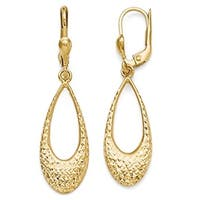 10k Gold Polished and Diamond Cut Dangle Leverback Earrings
