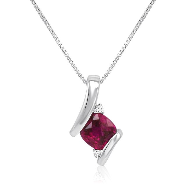 Amanda Rose Sterling Silver Created Ruby and Diamond Pendant-Necklace (1ct tgw)