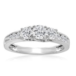 Amanda Rose IGI Certified 1ct tw Three Stone Plus Diamond Anniversary Ring set in 10K White Gold ( Available sizes 5-8)