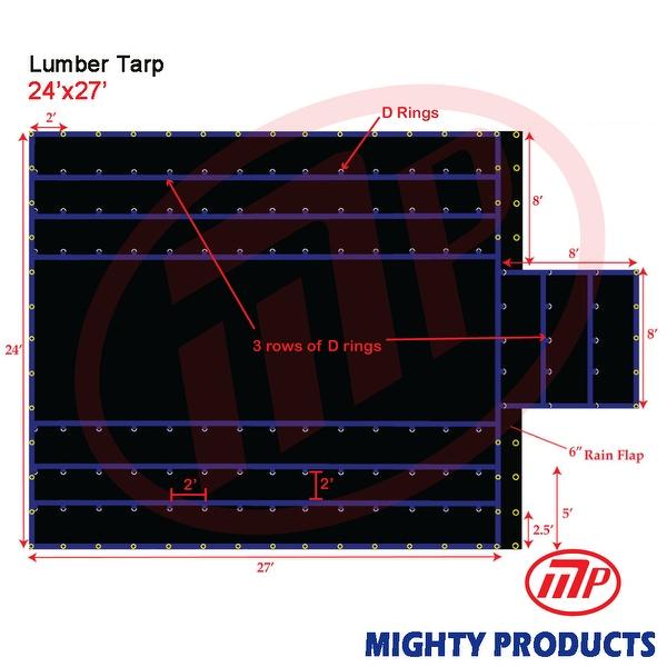 Xtarps - 24' x 27' Flatbed Truck Tarp - Light Weight Lumber Tarp with 8' Drop