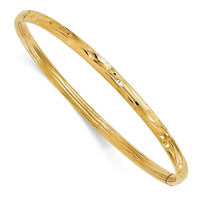Italian 14k Gold Polished Textured Bangle
