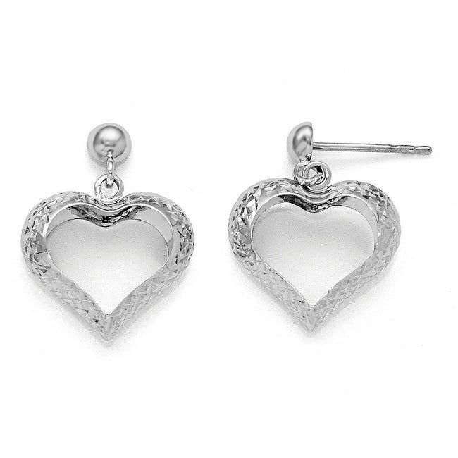 10k White Gold Diamond Cut Heart Post Dangle Earrings