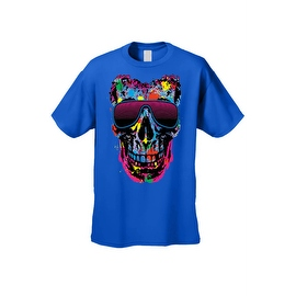Men's T-Shirt Splattered Paint Colorful Skull W/ Shades Skeleton Graphic Tee
