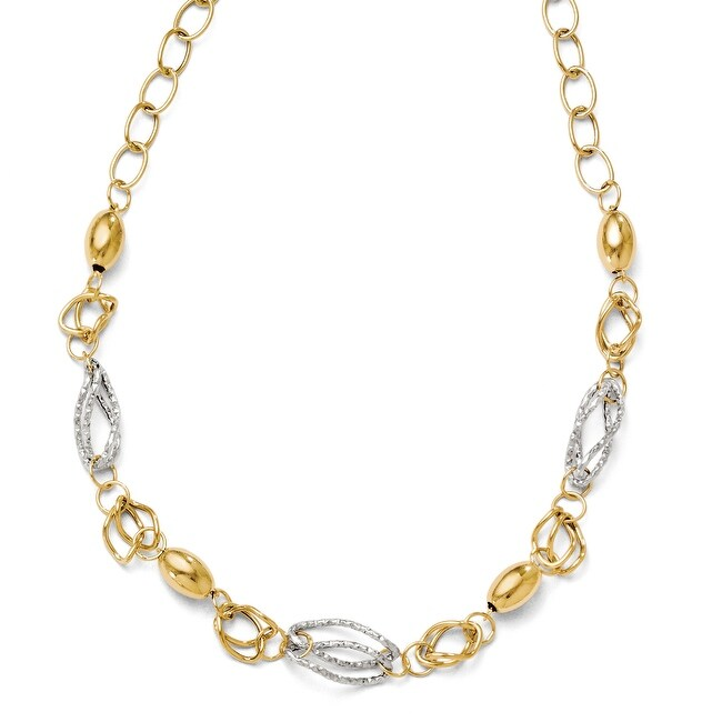 Italian 14k Two-Tone Gold Polished and Textured with 2in ext Fancy Necklace - 17 inches