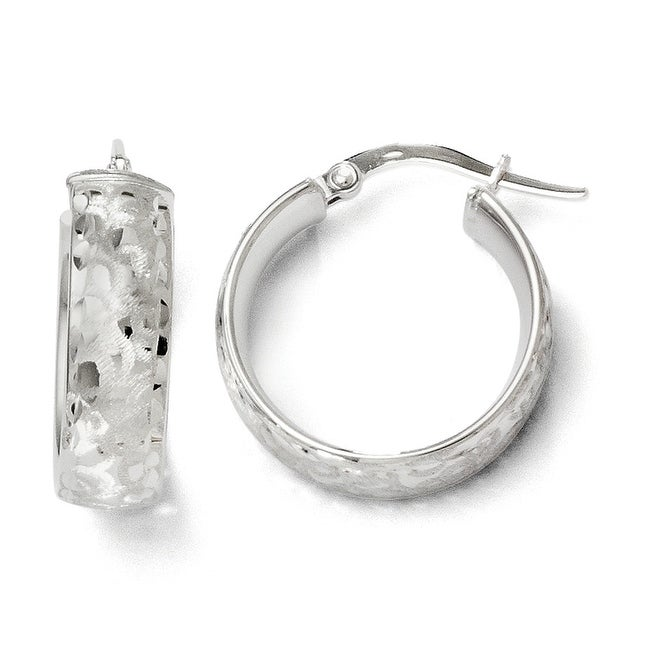 Italian 14k White Gold Hoop Earrings